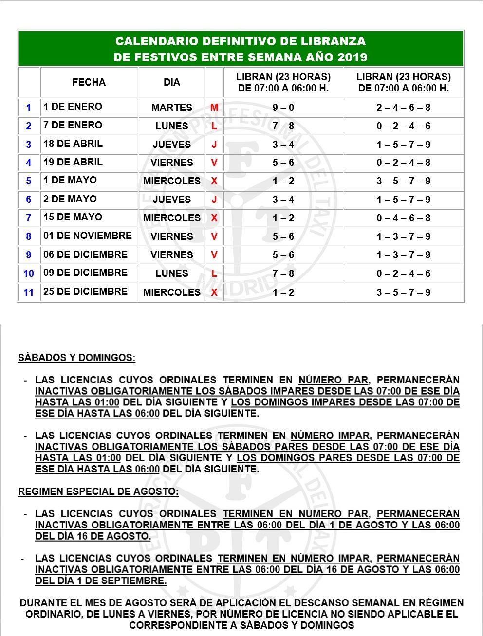 Calendario Madrid 2019.Calendario Libranza 2019