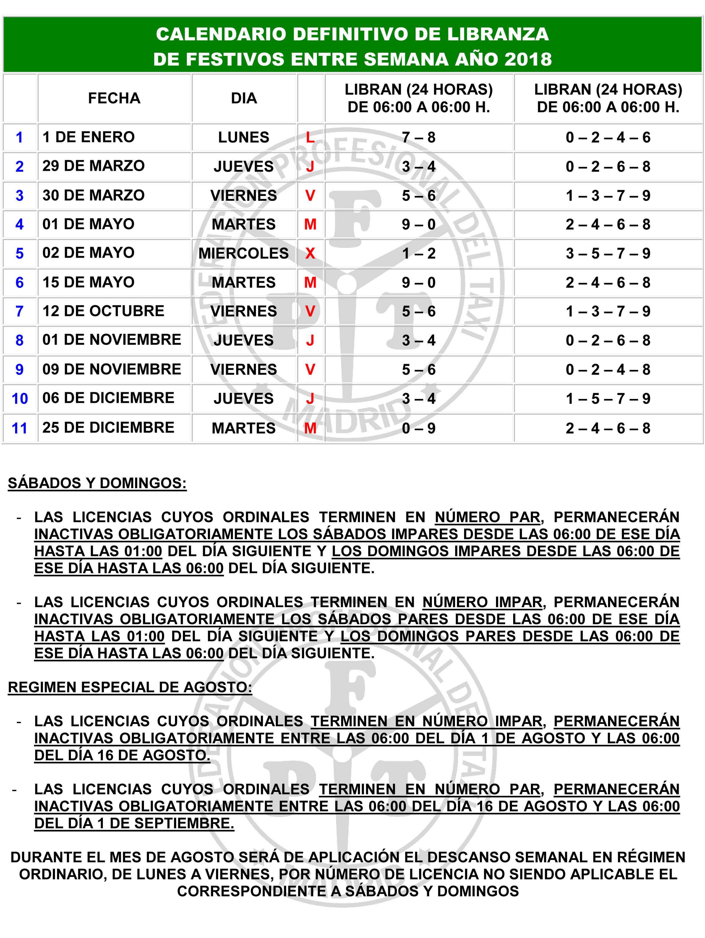 Calendario Del Madrid.Publicado El Calendario De Libranza 2018